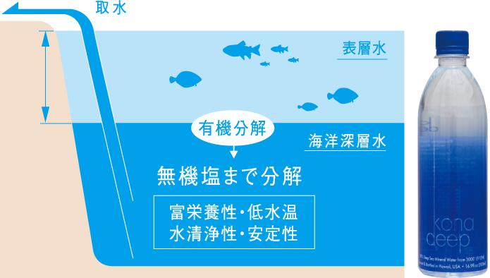 コナ地域は、海洋深層水の取水にベストなエリア!
