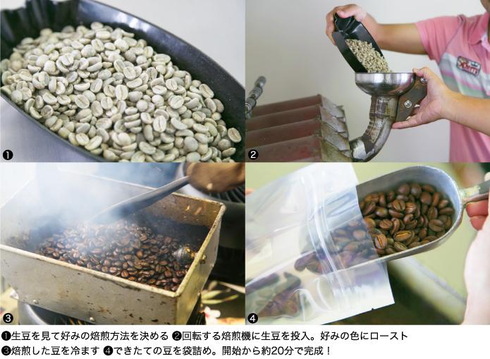 ①生豆を見て好みの焙煎方法を決める ②回転する焙煎機に生豆を投入。好みの色にロースト ③焙煎した豆を冷ます ④できたての豆を袋詰め。開始から約20分で完成!