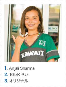 1. Anjali Sharma 2. 10回くらい 3. オリジナル